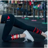 绑带拼接裤速干跑步瑜伽训练九分裤女高腰紧身健身裤显瘦弹力运动长裤