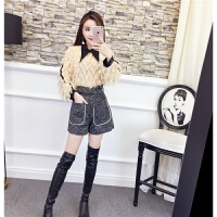 2018秋冬季女新款韩版时尚气质长袖修身上衣呢子阔腿短裤两件套装