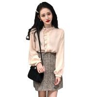新款韩版气质长袖修身衬衫+高腰半裙+粗花呢背带裙时尚套装三件套