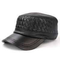 男士真皮帽子春秋季韩版女士休闲羊皮平顶军帽格子纹鸭舌帽