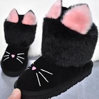 儿童雪地靴女童靴子冬季加绒短靴宝宝棉靴童鞋公主靴