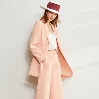 【到手价:280元】Amii极简法式气质西装两件套2020春新款中长款外套休闲阔腿裤套装