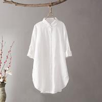 Q9文艺范棉麻春秋白衬衫女长袖宽松大码可挽起中长款衬衣女装0.25