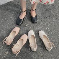 韩版时尚单鞋女士户外休闲百搭女鞋一字带铆钉平底鞋
