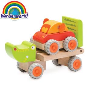 [当当自营]泰国Wonderworld 鳄鱼拖车 木质玩具车