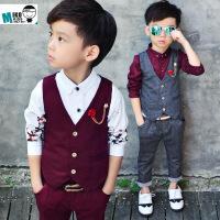 男宝宝小西装三件套装男童条纹礼服马甲1-3-7岁男宝个性秋冬装潮