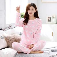 法兰绒睡衣秋冬套装新品女士睡衣套装女式可爱睡衣