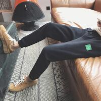 港风春季季加绒小脚长裤韩版男士百搭运动束腿休闲裤潮流学生裤子