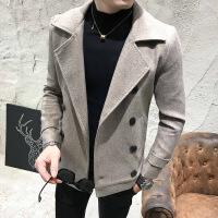 男士双排扣短款毛呢大衣秋冬新款加厚修身翻领风衣呢子外套潮