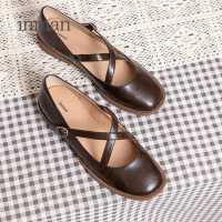 茵曼女鞋复古玛丽珍鞋女仙女风浅口平跟单鞋百搭奶奶鞋