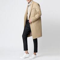 秋冬季新款毛呢外套英伦宽松男士韩版中长款呢子大衣休闲风衣男装 加棉