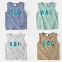 童装男童工字跨栏背心纯棉宝宝夏装儿童打底婴儿汗衫夏季