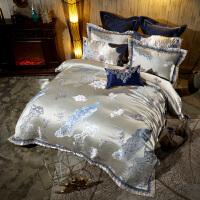 伊迪梦家纺 欧美式大床十件套 豪华样板房床上用品多件套贡缎提花床盖床罩式绗缝夹棉绣花TY102