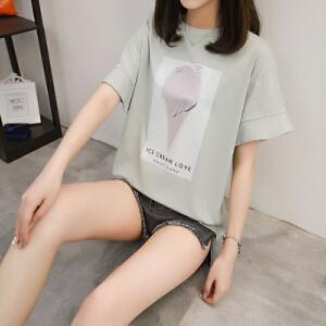 短袖t恤女夏装2018新款韩版时髦高中学生百搭荷叶袖宽松显瘦体恤