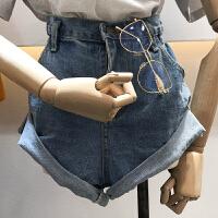 韩国ulzzang2018春新款高腰卷边休闲裤时尚短裤斜边学生牛仔裤女