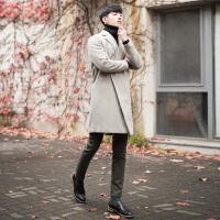 秋冬季新款男士呢大衣冬季中长款毛呢外套潮韩版羊毛呢子大衣 米色 S