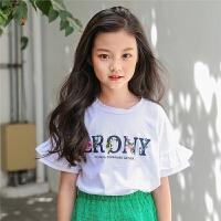 女童短袖T恤夏季新款韩版中大童纯棉宽松打底衫荷叶袖公主上衣潮