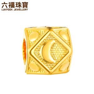 六福珠宝埃及系列月亮路路通黄金转运珠DIY串珠 L05TBGP0001