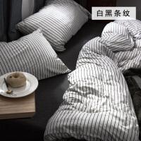 天竺棉针织棉四件套 日式简约条纹棉被套床笠 白色 白黑条纹