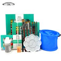 温莎牛顿丙烯颜料12 18 24色套装 画笔调和液调色碟手绘工具套装