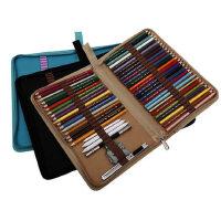 折叠式对折拉链帆布笔袋铅笔素描彩色笔帘学生美术工具插笔收纳包