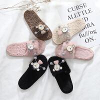 儿童棉拖鞋冬季中大女童可爱毛毛拖室内防滑软底卡通居家鞋