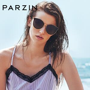 帕森偏光太阳镜女 时尚炫彩镜片猫眼金属圆框潮墨镜9915