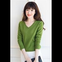 羊绒衫女V领韩版纯色套头毛衣短款长袖修身显瘦简约百搭针织