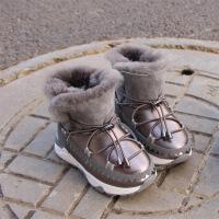 2017冬季新款韩版皮毛一体儿童时尚真皮中筒靴男童棉鞋女童雪地靴 枪色 26