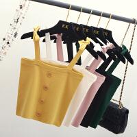 吊带背心女夏外穿高腰短款紧身打底百搭韩版性感针织无袖露肩上衣
