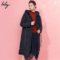 Lily2017冬新款时尚个性飘带长款连帽羽绒服大衣117439D1922