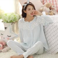 果蛋 新款双层纱布月子服春夏季产后纯棉孕妇睡衣长袖薄款哺乳睡衣1252