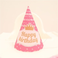 周岁生日布置卡通发光生日帽生日派对帽子生日会布置幼儿园活动抓周岁抓生日帽 PVC发光帽 粉色皇冠款