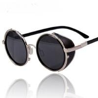 个性金属边圆形墨镜 男士大框太阳眼镜潮 复古墨镜款时尚太阳镜