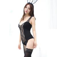 情趣内衣吊带蕾丝马甲吊袜带丝袜性感诱惑套装TC 赫本黑 均码