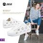jm快乐玛丽秋季新款平底系带学生板鞋星星女生小白鞋子