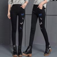 刺绣加绒加厚打底裤女冬外穿黑色高腰显瘦小脚裤保暖绣花长裤