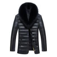 冬装新款海宁男士皮衣羽绒服中长款休闲男装超大毛领皮衣外套