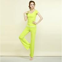 瑜伽服套装女秋冬新款健身服三件套显瘦健身房瑜珈运动跑步服 果绿+白+果绿 三件套(短袖)