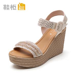 达芙妮旗下shoebox/鞋柜新款女鞋 甜美珠饰坡跟罗马鞋高跟凉鞋