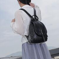 七夕礼物韩版双肩包女 2018新款休闲胸包 多功能小背包旅行包时尚女士包包 黑色