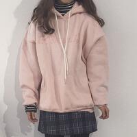 韩观秋冬女装韩版宽松加绒加厚字母刺绣连帽套头卫衣可爱学生长袖外套 淡粉色