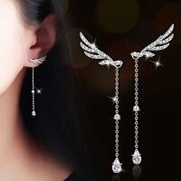 s925银针天使翅膀灵动耳饰流苏耳环耳坠长款耳钉女气质甜美韩国风 银白色+925银针