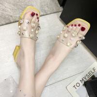 女士拖鞋女少女心ins外穿夏时尚新款百搭粗跟水钻透明时尚凉拖鞋