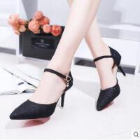 百搭仙女鞋女鞋高跟鞋女细跟春款单鞋一字扣鞋性感尖头鞋子
