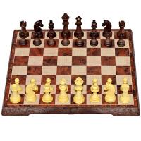 国际象棋小学生儿童大号仿木纹磁性棋折叠棋盘套装