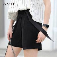 【预估价81元】 Amii极简chic港味ulzzang运动短裤2018新款夏宽松显瘦高腰休闲裤