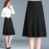 秋冬装新款中老年人女装半身裙子印花大摆高腰显瘦妈妈装百搭中裙