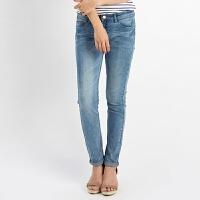 美特斯邦威女装修身直筒牛仔长裤257952