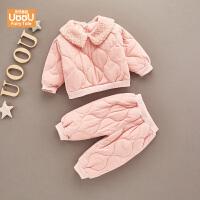 女宝宝套装两件套冬装棉衣棉袄套装